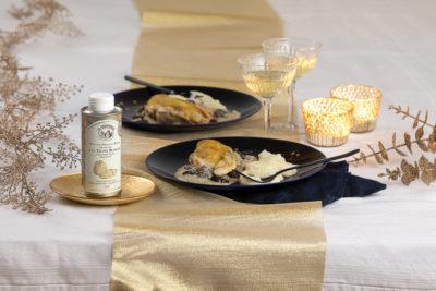 Prise vue pour La tourangelle, photographie culinaire, huile de pains de raisin aromatisée à la truffe blanche